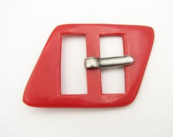 vintage casein buckle in original shape 1930s belt buckle unused Large red buckle