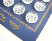 Vintage blouse buttons, 20 clear lucite plastic buttons with carved flower, 13 mm or 11 mm