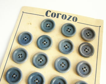 23 blue tagua nut buttons on a vintage card, Vintage Vegetable ivory buttons, 20 mm, unused!!