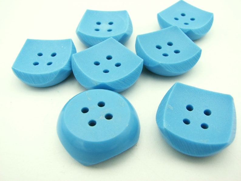 Vintage blue buttons in squared shape 22 mm and 28 mm 20 mm
