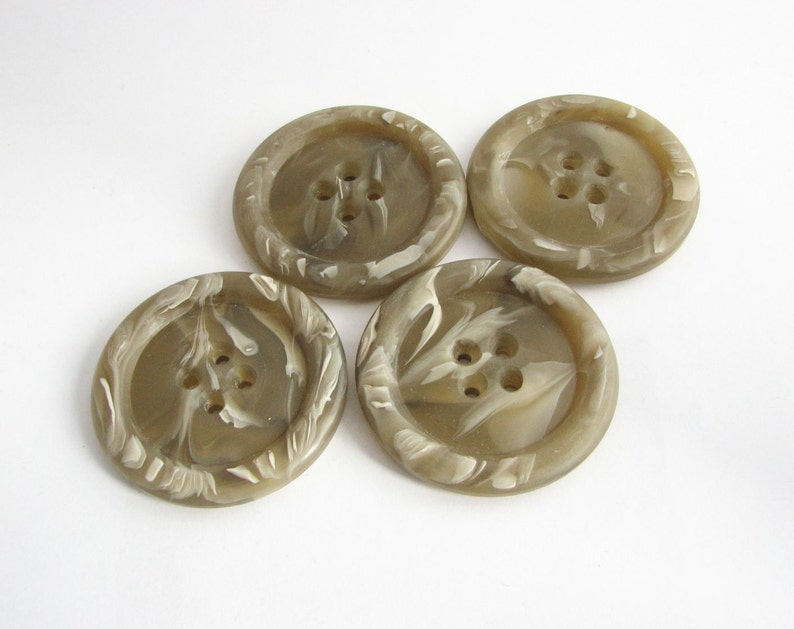 Chunky taupe Buttons vintage buttons 4 extra large buttons for coats unused!! Mods style