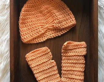 Beanie Hat and Fingerless Gloves, Fingerless Gloves, Beanie Hat, Hat and Glove Set, Baby Hat, Baby Gloves, Baby Stocking Cap