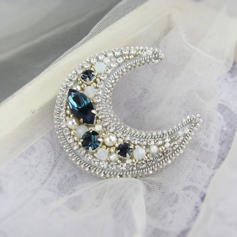 Silver crescent moon brooch,Rhinestones jewelry,Silver blue navy pin,Vintage Art Deco style,Beaded embroidery brooch,Romantic gift Crystals