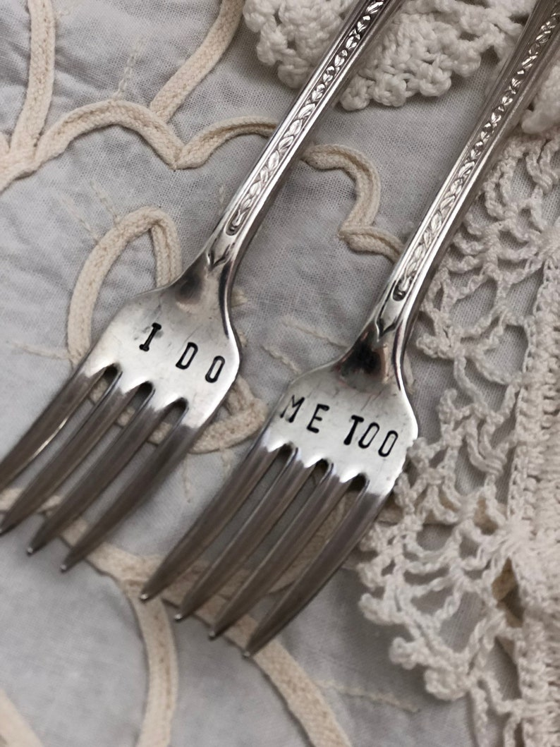 Hand Stamped /'I Do/' /'Me Too/' Wedding Cake Forks