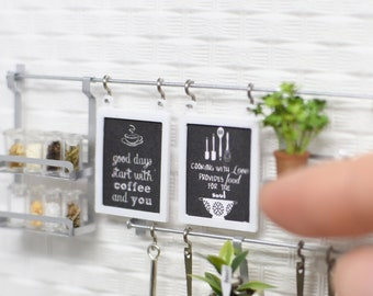 Hanging chalkboard sign - handmade Dollhouse 1:12 scale rail wall system