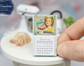 Hanging Calendar with tear off pages - handmade Dollhouse 1:12 scale kitchen