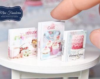 Miniature books SET - Cookbooks shabby vintage cakes- handmade Dollhouse 1:12 scale