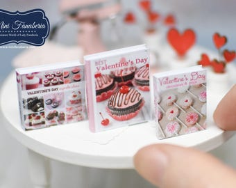 Miniature books SET - Valentine's Day recipes cookies cakes handmade Dollhouse 1:12 scale