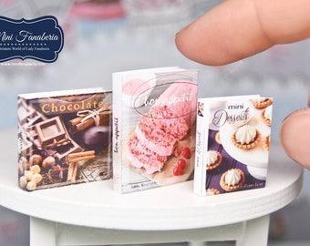 Miniature books SET - desserts cakes handmade Dollhouse 1:12 scale