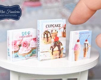Miniature books SET - baking cakes- handmade Dollhouse 1:12 scale