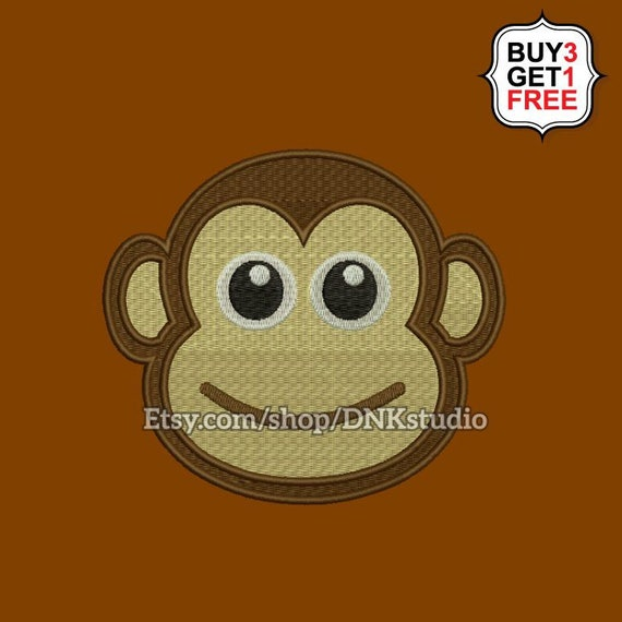 Monkey Face Embroidery Design 5 Sizes Instant Download Etsy