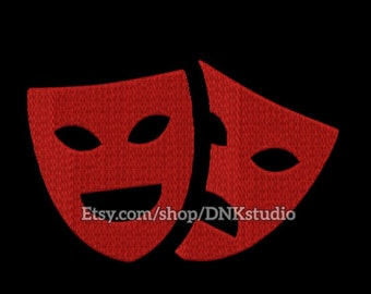 Mardi Gras Comedy Tragedy Theatre Drama Mask Embroidery Design - 4 Sizes - INSTANT DOWNLOAD