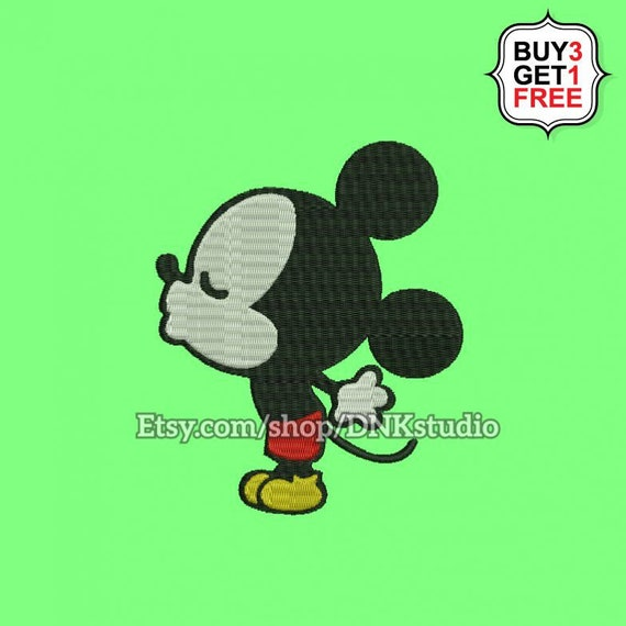 Mickey Mouse Kissing Embroidery Design 5 Sizes Instant Etsy