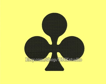 Playing Card Symbol Clubs Clovers Embroidery Design - 6 Sizes - INSTANT DOWNLOAD