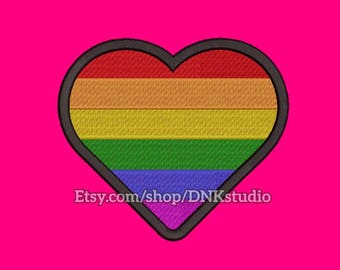 Lesbian Gay Bisexual Transgender LGBT Pride Rainbow Heart Embroidery Design - 6 Sizes - INSTANT DOWNLOAD