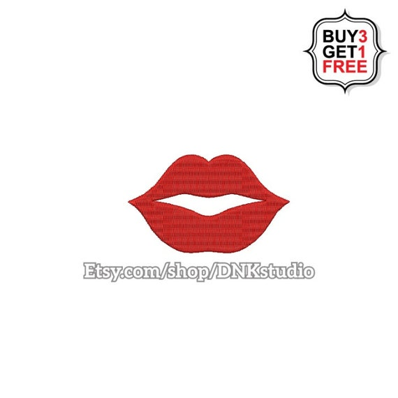 Kiss Lips Emoji Embroidery Design - 6 Sizes - INSTANT DOWNLOAD