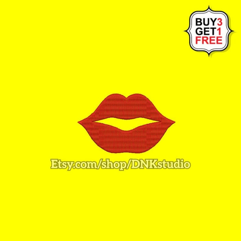 Kiss Lips Emoji Embroidery Design 6 Sizes Instant Download Etsy