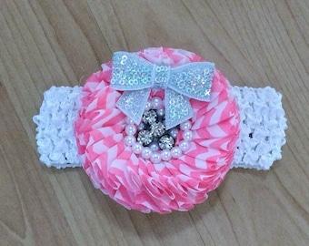 Baby Girl Headband, Flower Headband, Pink Headband, Baby Headband, Baby Hair Accessory, Infant Headband, Newborn Headband, Chevron Headband