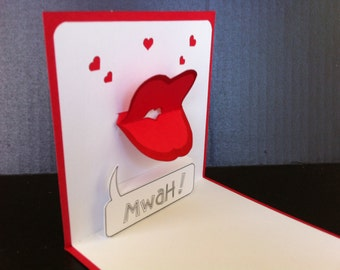 Blow a kiss  - pop up card made of 100% recycled card stock