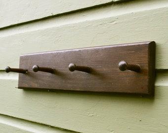 Wooden Peg Rack, Cottage Coat Rack, Vintage Hat and Coat Rack, Oak Peg Rack