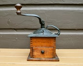 Antique Coffee Grinder, Hand Crank Wood and Cast Iron Coffee Mill, Antique Cottage Kitchen
