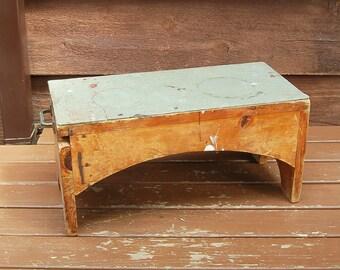 Workbench Stool, Vintage Scrap Wood Bench, Rustic Stool