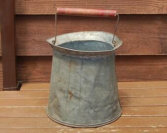 Sap Gathering Pail, Primitive Sap Bucket, Vintage Sap Pail, Vintage Galvanized Bucket,