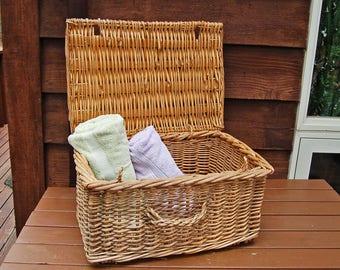 Large Wicker Storage Basket Vintage Willow Basket Basket H&er Blanket Storage Country Decor Blanket Storage Chest Wicker & Wicker chest | Etsy