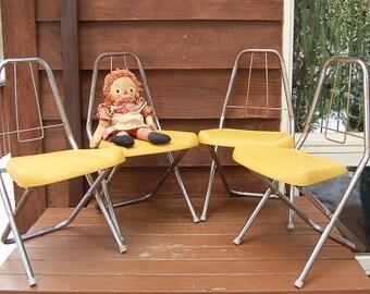 Set Of 4 Childu0027s Metal Folding Chairs, Mid Century Chrome Childu0027s Folding  Chairs,Harvest Gold Plastic And Chrome Metal Folding Chair