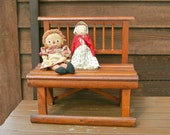 Folk Art Childs Bench, Vintage Primitive Seat, Adirondack Wood Bench, Childs Boot Bench, Entry Seat, One of a Kind Bench