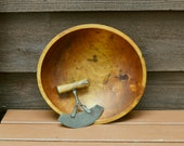 Old Maple Bowl and Chopper, Hand Carved Wood Chopping Bowl