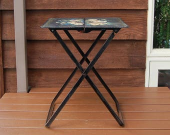 Metal Folding Table, Mid Century Fold Up Table, Black and Floral Folding Table, Metal Folding TV Tray, Tray Table