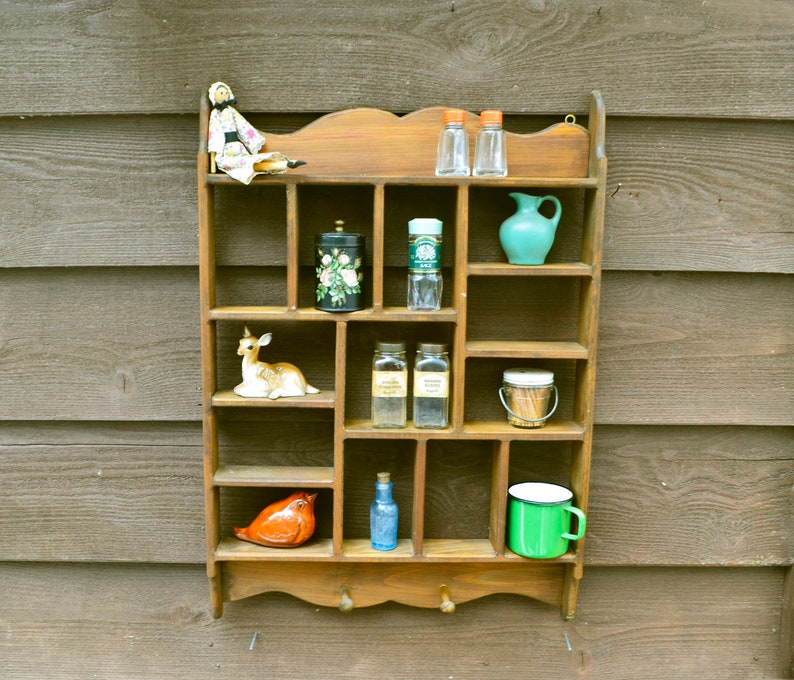 Large Pine Wall Shelf Vintage Wooden Spice Rack Kitchen Wall Etsy