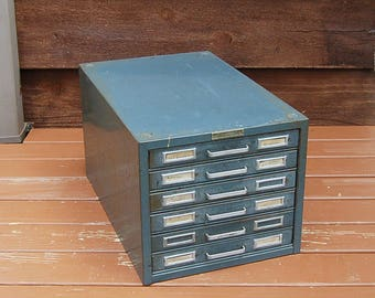 Large Steelmaster File Box, Vintage 6 Drawer File Case, Metal File Box, Vintage Records Chest, Storage Box, Vintage Industrial File Box