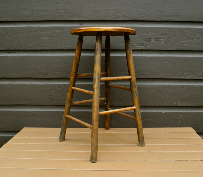 Old Wooden Stool Vintage Kitchen Stool Counter Stool Tall ...
