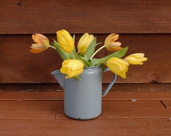 Enamelware Coffee Pot, Vintage Gray Enamel Kettle, Graniteware Pitcher of Vase