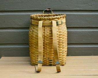 Old Ash Pack Basket, Adirondack Basket, Trapper Pack, Large Ash Wood Basket, Fishing Basket,