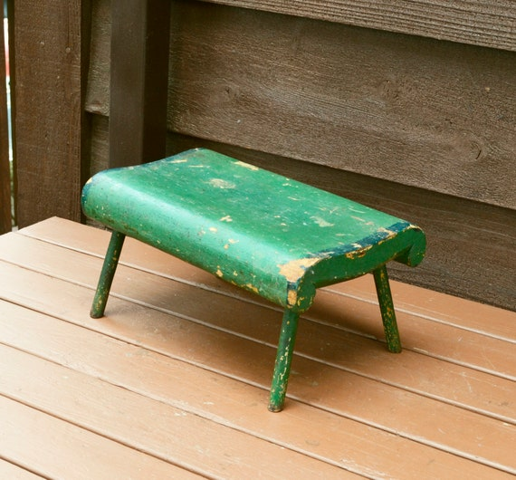 Excellent Small Painted Wooden Stool Vintage Green Painted Footstool Antique Stool Primitive Little Bench Andrewgaddart Wooden Chair Designs For Living Room Andrewgaddartcom