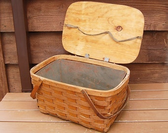 Tin Lined Picnic Basket, Large Vintage Picnic Hamper, Covered Storage Basket, Old Wicker Hamper