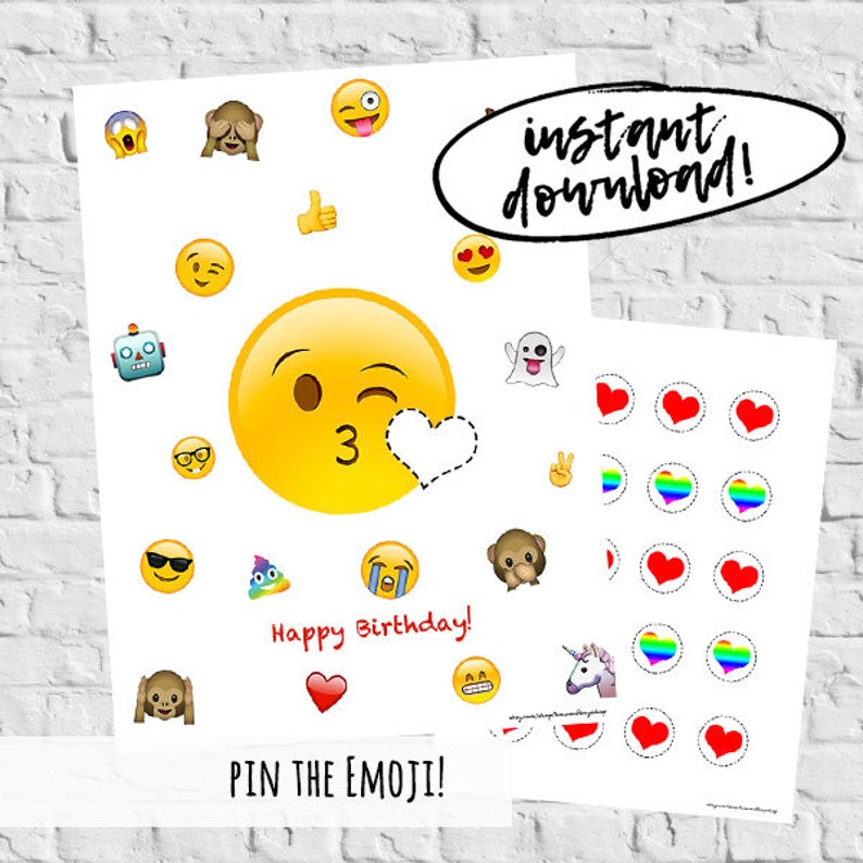 Pin The Tail On Emoji Birthday Party Digital Download