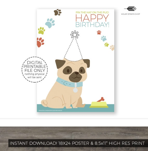 Pin The Tail On Puppy Pug Birthday Party Game Printable Kids