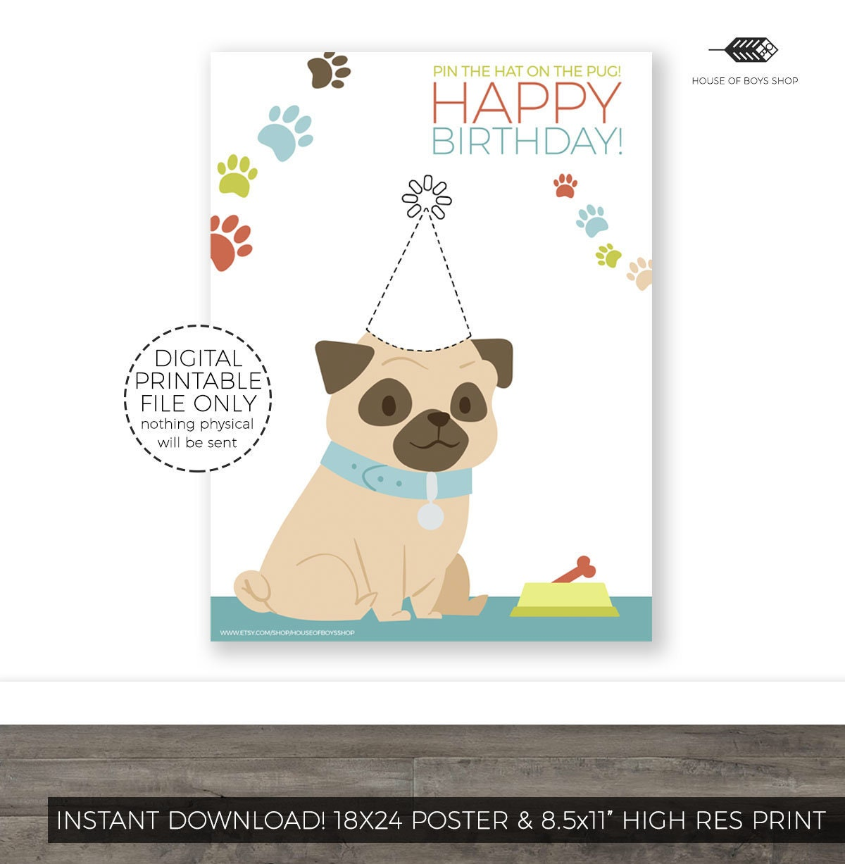 Pin The Tail On Puppy Pug Birthday Party Game Printable Kids Etsy Jpg 1200x1227
