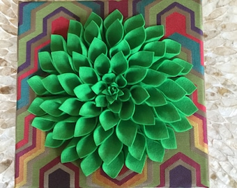Bright green felt Dahlia in multi colored background!