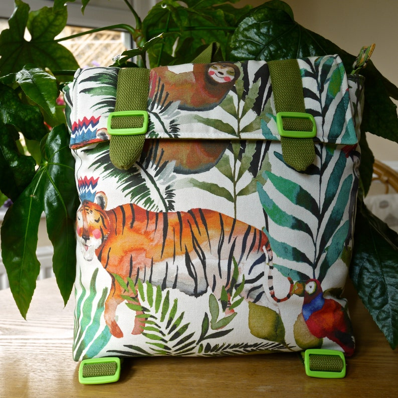 Cute Jungle Fabric Child's Kid's Backpack Bag for image 0