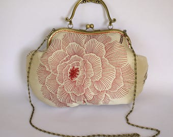 Gift for her: Embroidered and beaded cream and red silk purse with snap frame and chain handle