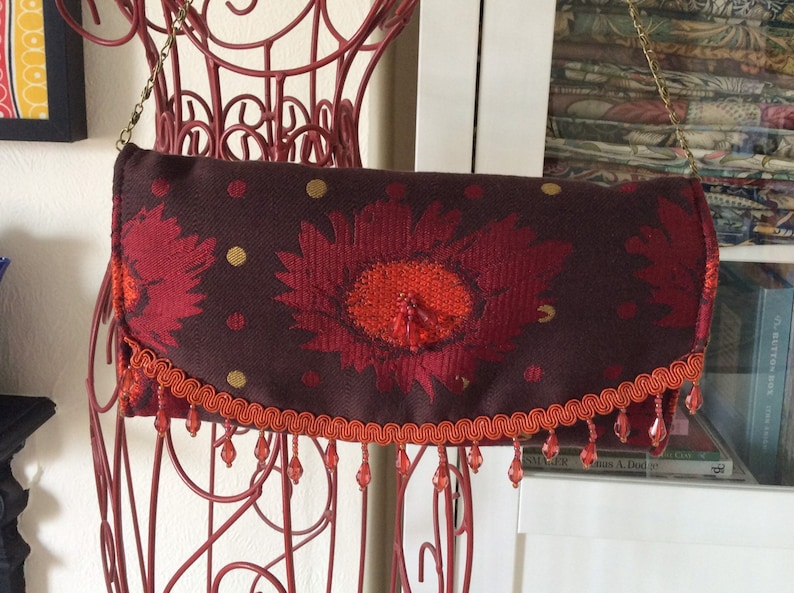 Quirky brown and orange beaded evening or occasion purse or image 0