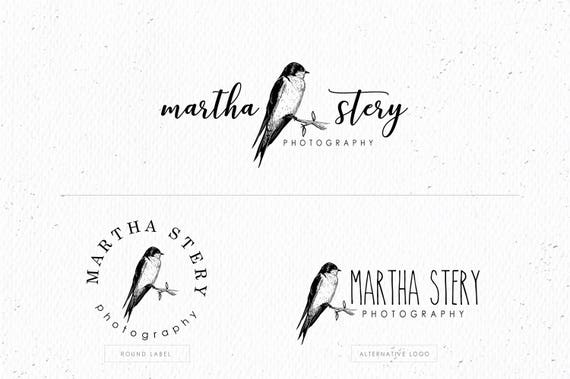 swallow on branch photography logo eps and png file etsy etsy
