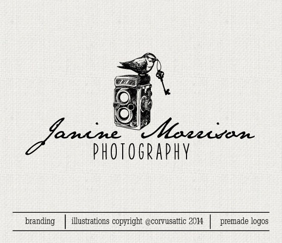 Bird On Camera Photography Logo Eps And Png File Watermark Etsy