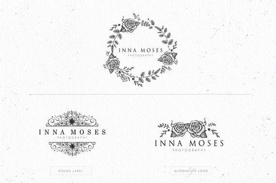 Flower frame logo Eps and Png file watermark Premade   Etsy