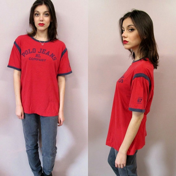 Vintage Polo Jeans T Shirtred 90s crew neck Ralph Lauren oversize red cotton graphic t shirt top Shirt Made in USAsee measurements